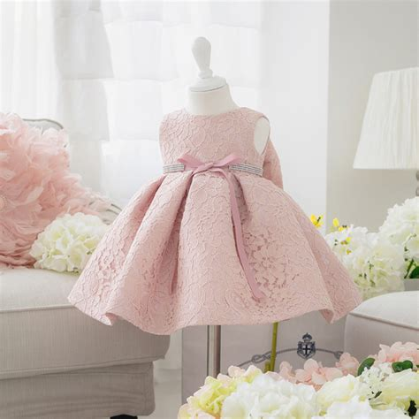 Dress Bayi Newborn newborn baby dresses with cap back bow diamand belt baby christening gowns 1 year