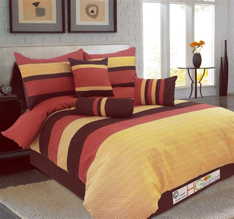 red and yellow comforter 7 pc diamond jacquard striped comforter set coffee red