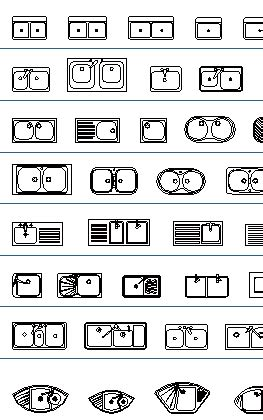 Architectural Symbols Floor Plan by Kitchen Cad Blocks Thousand Dwg Files Sinks Kitchen