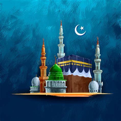 eid mubarak happy eid background  kaaba stock vector