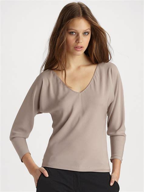 Glow Silk Vneck Top diane furstenberg kindra silk vneck top in gray light mauve lyst