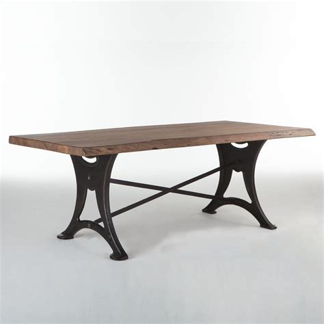 Dining Table Iron Legs Organic Forge 80 Solid Wood Dining Table In Walnut W Cast Iron Legs Simply Furniture