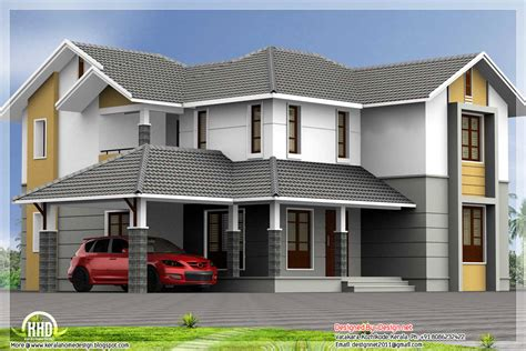 roof design of house 4 bedroom sloping roof house 2900 sq ft kerala home design and floor plans