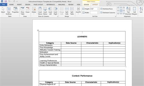 Learner Analysis Template design templates