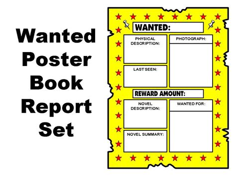 book report wanted poster template wanted poster book report set other files documents