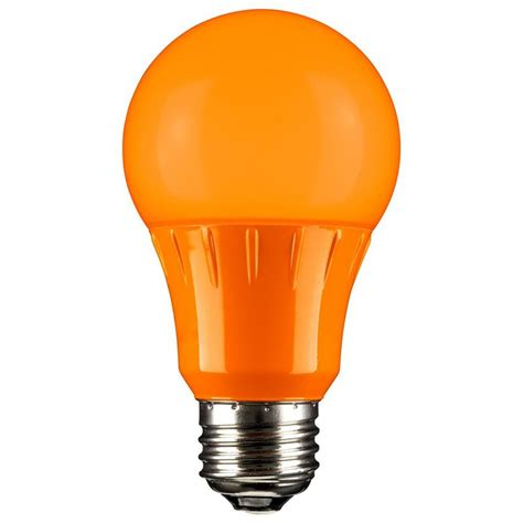 orange led a19 120 volt e26 medium base party light bulb