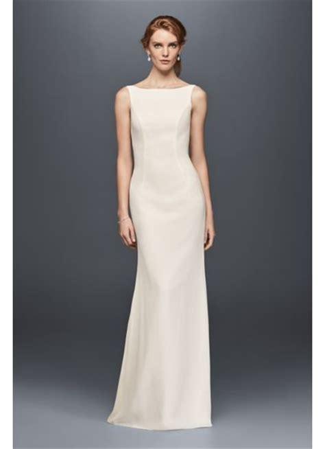 Sale Longdres Crep Kotak high neck crepe wedding dress with ruffled back davids bridal