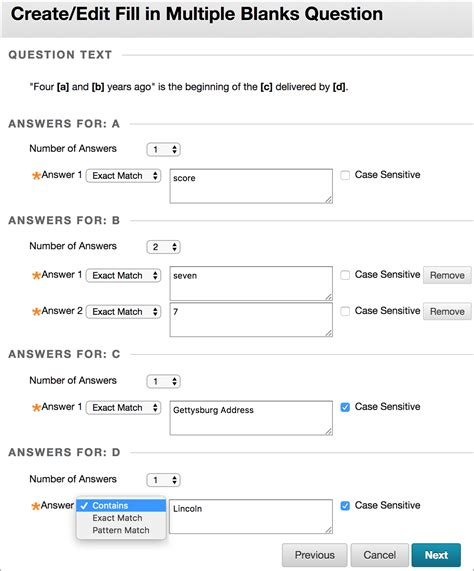 select one question below and submit them in an es fill in multiple blanks questions blackboard help