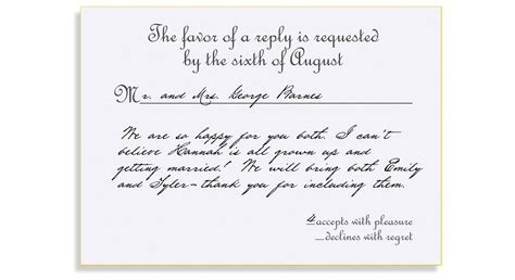 reply to wedding invitation informal rsvp etiquette traditional favor accepts regrets placement