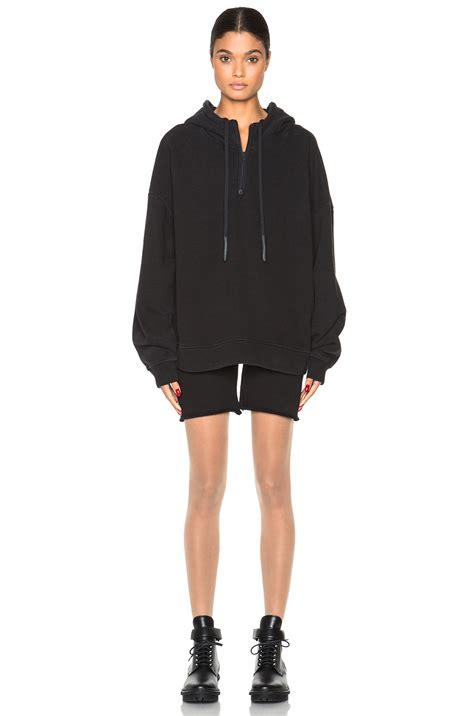 kanye west zip yeezy half zip hoodie in black lyst