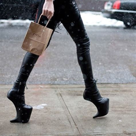 heel less high heel shoes black leather heel less high heels platformsonly