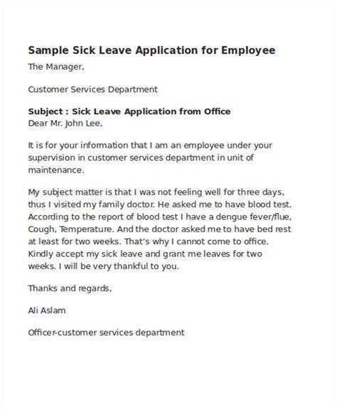 sick application letter company 46 application letter exles sles pdf doc