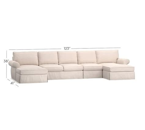 dual chaise sectional pearce slipcovered 4 piece double chaise sectional