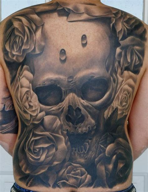 3d full back best skull tattoo design of tattoosdesign