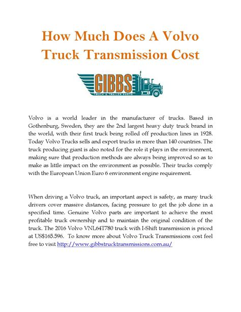 how much does a volvo truck cost how much does a volvo truck transmission cost by gibbs