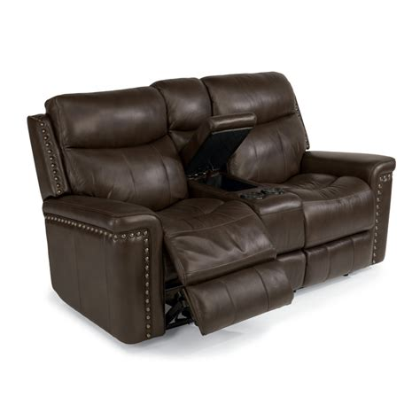 leather reclining sofa with console flexsteel 1339 604p grover leather power reclining