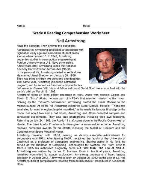 neil armstrong biography worksheet excellent reading worksheets images about printables