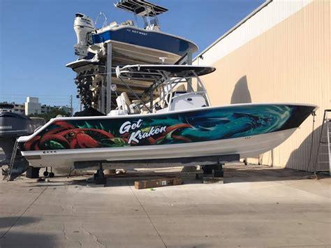bad ass boat wrap  kraken sign graphics palm harbor