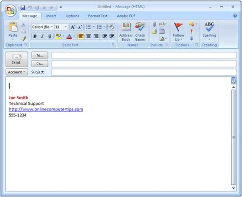 email signature templates for outlook 2010 create an outlook email signature microsoft office help tips