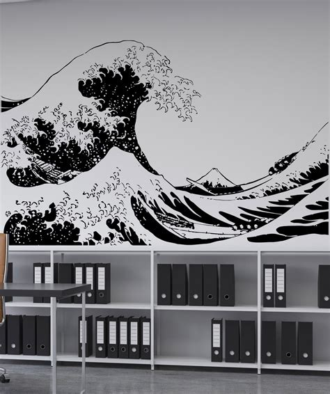 japanese wall sticker vinyl wall decal sticker japanese great wave hokusai 363