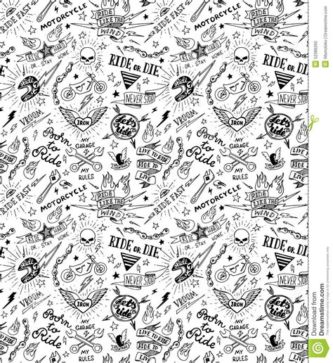 traditional tattoo biker pattern stock vector image
