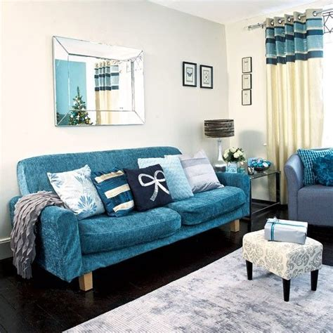 Manning Curled Gold Bronze Effect Teal Sofa Blue And
