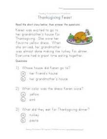 thanksgiving reading passages thanksgiving reading comprehension worksheet