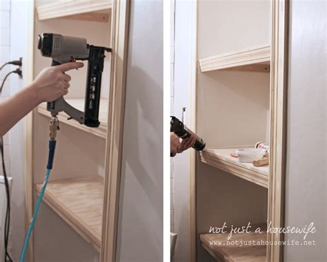 how to frame out that builder basic bathroom mirror for bathroom shelves stacy risenmay