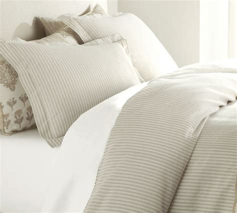 ticking bedding vintage ticking stripe duvet cover sham neutral