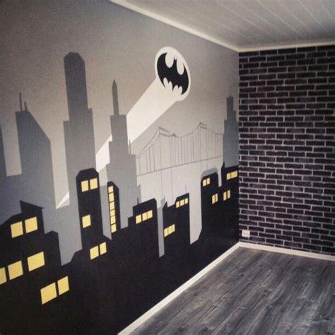 batman wallpaper decor bedroom with gotham city mural and brick wallpaper for the