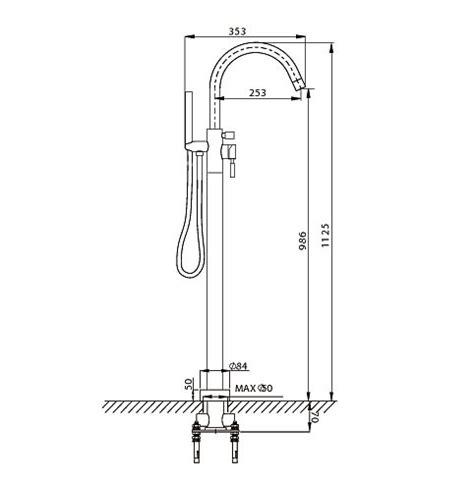 monobloc bath shower mixer crosswater design floor monobloc bath shower mixer