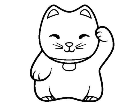imagenes kawaii en blanco y negro dibujo de maneki neko blanco para colorear dibujos net