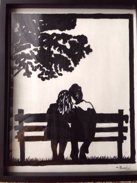 couple sitting on bench couple sitting on bench silhoutte paintings pinterest