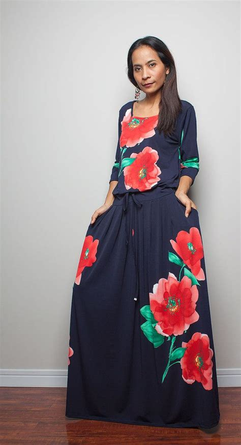 Aiko Maxi Navy maxi dress sleeve navy blue dress with floral print summer thrills collection no 1