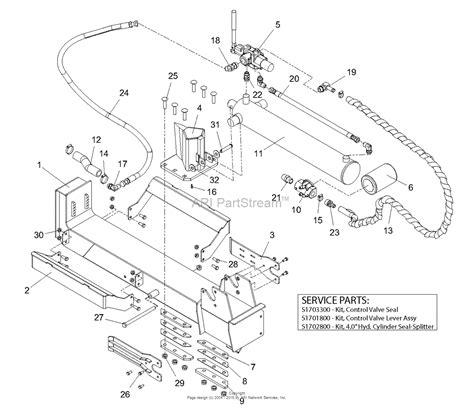 log splitter hydraulic valve diagram ariens 917011 000101 009999 22 ton log splitter parts