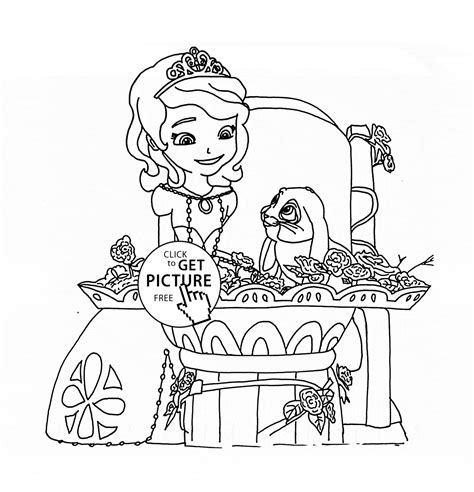 happy birthday sofia coloring pages clover and princess sofia coloring page for girls disney