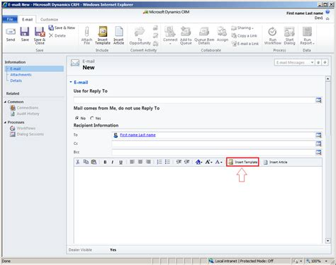 microsoft email template replace a insert template button in crm 2011 email form