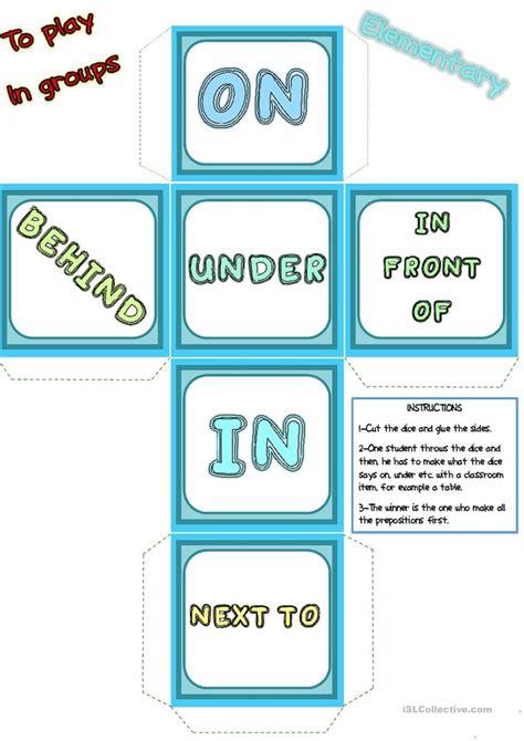 Esl Printable Dice | prepositions of place words dice worksheet free esl