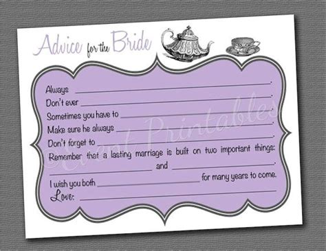 printable bridal shower advice cards bridal shower mad libs tea party advice for the bride