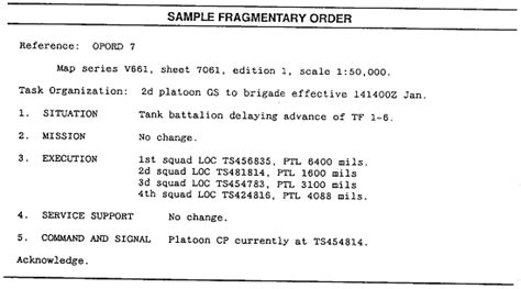 Appendix Sle Briefformat mission briefformat 28 images fm 7 93 chptr 6