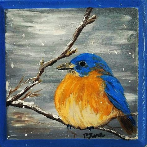 painting birds acrylic find me on etsy at phoebejunearts blue bird on wood plaque