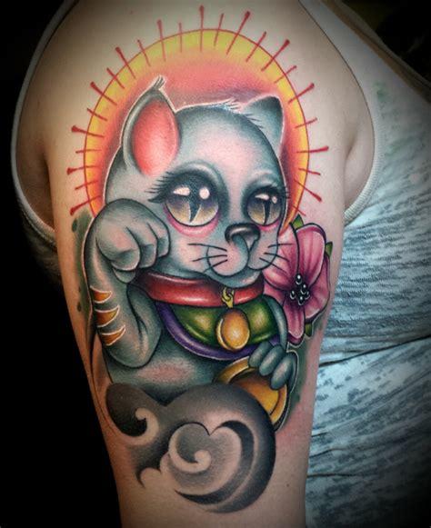 family tattoo round lake new school fortune cat done by me josh herman good