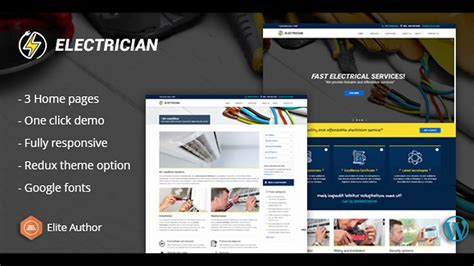 Electrician Repairing Wordpress Theme Themeforest Website Templates And Themes Youtube Free Electrician Website Template