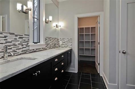 backsplash bathroom ideas bathroom backsplash ideas with white wall and black cabinet home interior exterior