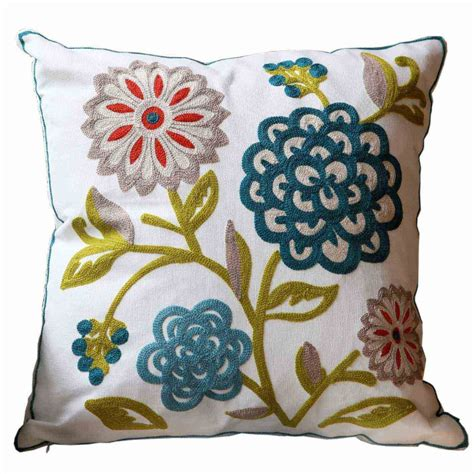 flowers cotton handmade embroid sofa cushion cover