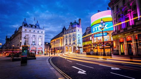 London, England, city, street, building, lights, evening Wallpaper 1920x1080 Full HD