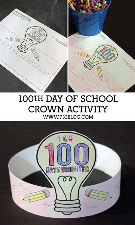 100th day crown template 100 days brighter crown activity inspiration made simple