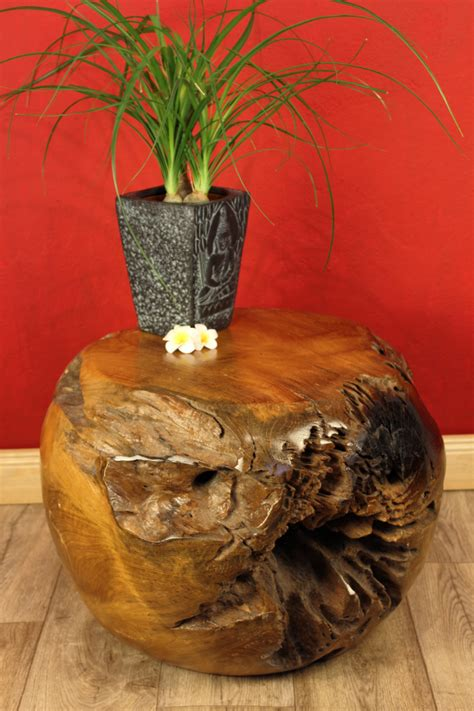 burl wood furniture side table teak root ball kinaree