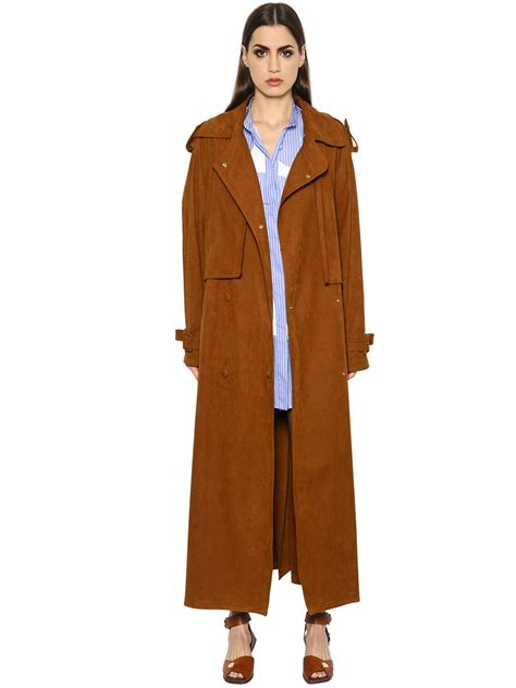 Fashion And Chocolate Womens Two by Stella Mccartney Oversized Faux Suede Trench Coat