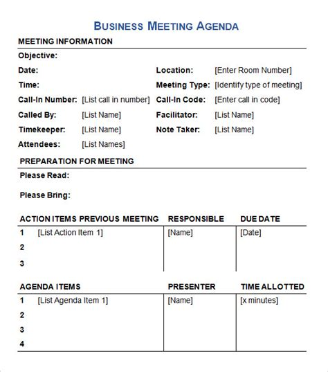 meeting agenda template doc business meeting agenda template 5 free